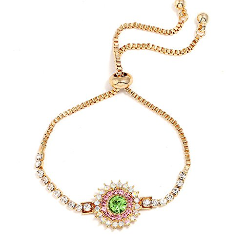 Dwcly Classic Round Circle Shiny Green Pink Crystal Eyes Bracelets Square Rhinestone Round Beads Tennis Bangle for Her