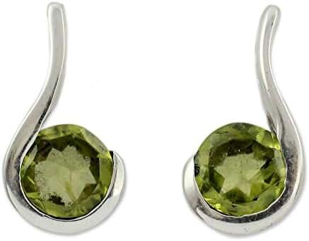 NOVICA Peridot .925 Sterling Silver Drop Earrings 'Lime Droplet'