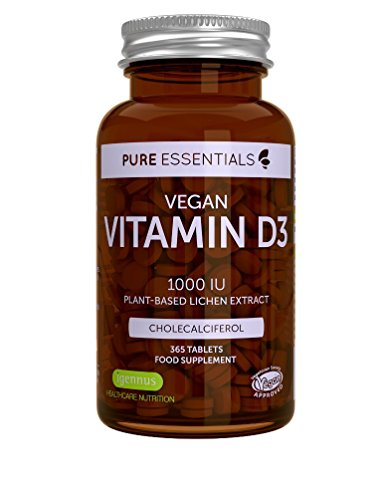 Pure Essentials Vegan Vitamin D3 1000IU Cholecalciferol, Lichen Extract, 365 Tablets