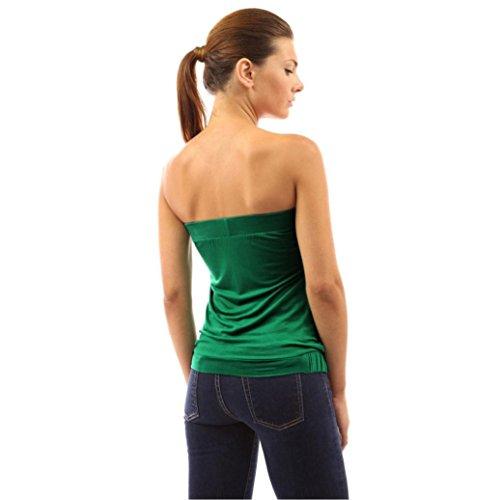 Winwintom Moda Mujeres blusa envuelto pecho T - shirt Verde