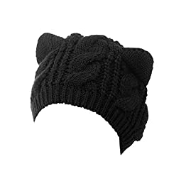 Cat Ears Knit Beanie | Black Acrylic | Kawaii Beanies 9