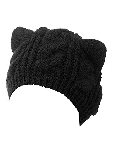 Choies Women's Acrylic Cat Ears Knit Black Beanie Hat,ONESIZE