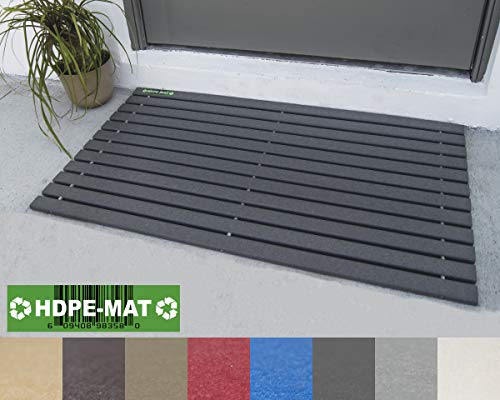 HDPE-MAT UV Resistant Heavy Duty Waterproof Front Door Mat | Stylish Handcrafted Recycled Plastic Poly Lumber Slats - Eco Friendly For Outdoor Entrance Patio Garage Entry Slate Gray (Recycled Lumber)