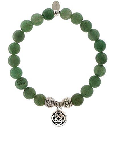 EvaDane Natural Green Aventurine Gemstone Rope Bead Celtic Knot Charm Stretch Bracelet - Size 9 Inch ( ()