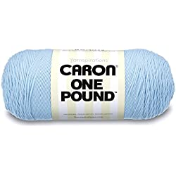 Caron One Pound Solids Yarn - (4) Medium Gauge 100% Acrylic - 16 oz - Sky Blue- For Crochet, Knitting & Crafting