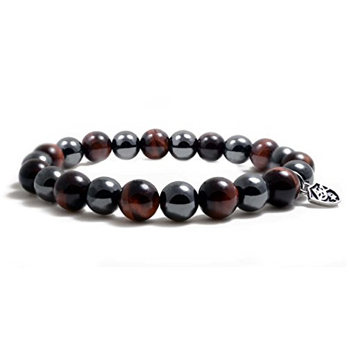 Eye Magnetic Hematite Bracelet - Accents Kingdom 10MM Red Tiger's Eye Bead Hematite Classic Magnetic Bracelet, 8.5