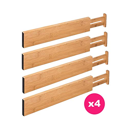 RAPTUROUS Bamboo Kitchen Drawer Dividers – Pack of 4 Expandable Drawer Organizers with Anti-Scratch Eva Foam Edges – Adjustable Drawer Organization Separators for Kitchen, Bedroom, Bathroom & Offi