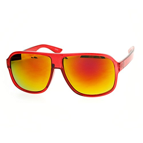 Colorful Reflective mirrored Lens Plastic Aviator Flat Top Mobster Sunglasses - Red Frame with Red mirrored - Aviator Frame Red Sunglasses