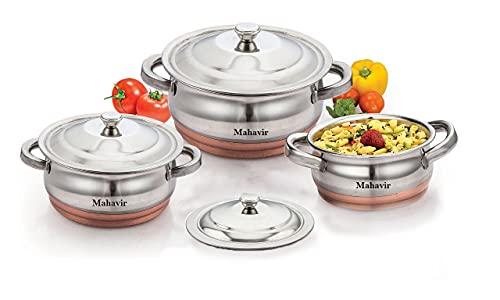 MAHAVIR ENTERPRISES Stainless Steel Cookware Set  Multicolor    3 Pieces