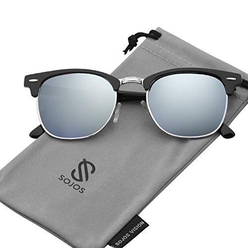 SOJOS Semi Rimless Polarized Sunglasses Half Horn Rimmed Glasses SJ5018 with Black Frame/Silver Mirrored Polarized Lens