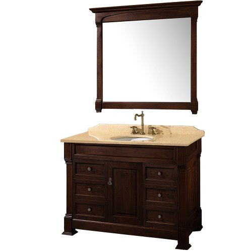 - Wyndham Collection Andover 48 inch Single Bathroom Vanity in Dark Cherry, Ivory Marble Countertop, White Undermount Round Sink, and 44 inch Mirror