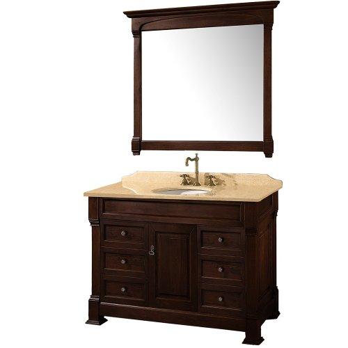 (Wyndham Collection Andover 48 inch Single Bathroom Vanity in Dark Cherry, Ivory Marble Countertop, White Undermount Round Sink, and 44 inch Mirror)