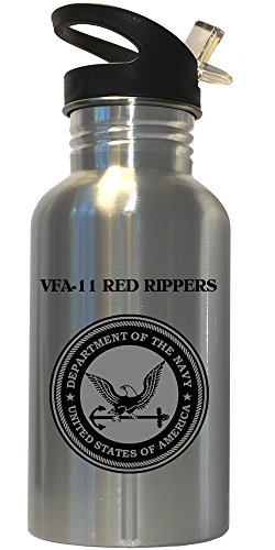 VFA-11 Red Rippers - US Navy Stainless Steel Water Bottle Straw Top, 1030
