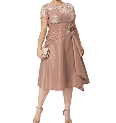 Braun Brautmutterkleider Abendkleider Damen Formalkleider Hell mit Kurzarm Charmant Festlichkleider Ballkleider Knielang Kurzes PpnqtpZ4F