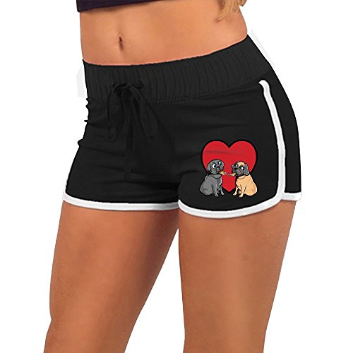 Pugs Love Pizza Too Summer Low Waist Shorts Women Sexy Mini Hot Pants (Skinny Puppy Halloween)