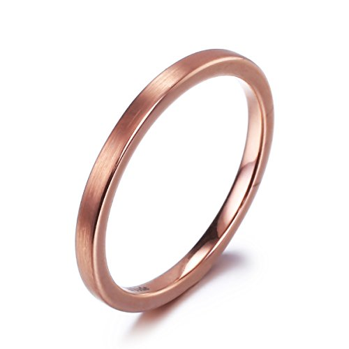 Wide Band Wedding Ring Braided - 2mm Tungsten Carbide Ring Rose Gold Plated Brushed Polished Wedding Band Pipe Cut Flat(6.5)