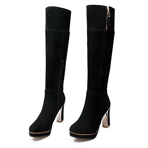 AgooLar Damen Reißverschluss Rinder Rein Stiefel mit Metallisch, Grau, 38