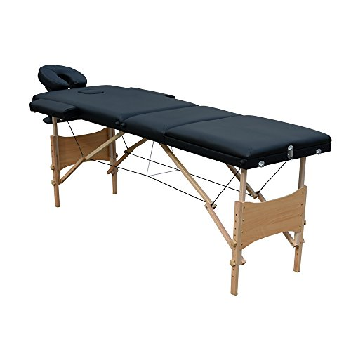 Ireko Cushioned 3 Section Folding Portable Facial Spa Massage Table Bed 82 Inches Black