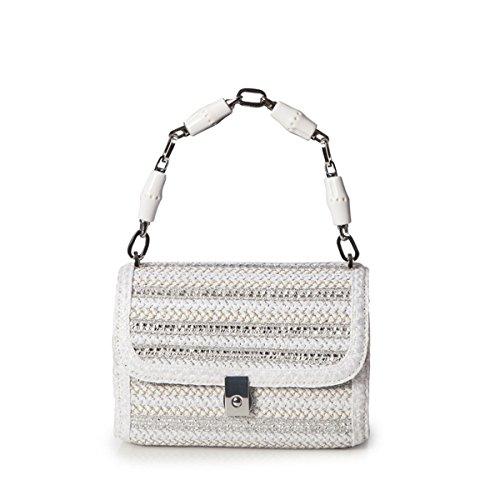 Eric Javits Designer Women's St. Barths Treasure Chest Bag (White/Silver) by Eric Javits