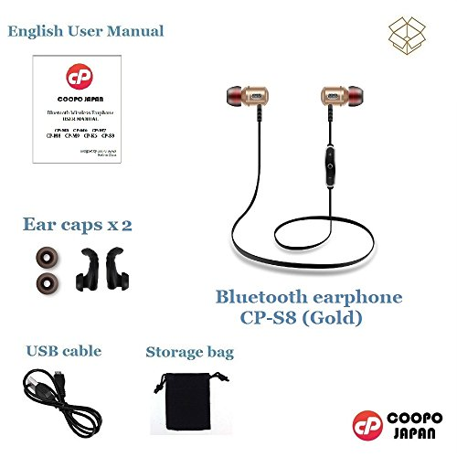 COOPO Bluetooth 4.1 Wireless Metal In-Ear Headphones with CVC 6.0 Noise Cancellation,Sweatproof Stereo Earphones with Built-in Mic for iPhone Android other smartphones tablets CP-S8(Gold) 70%OFF