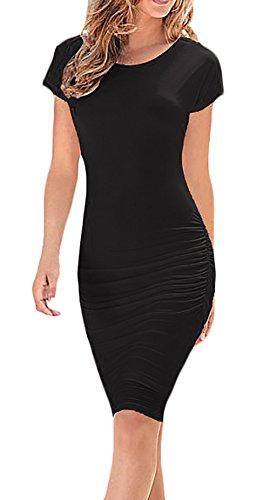 Kleid schwarz knielang kurzarm