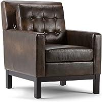 Simpli Home Carrigan Club Chair, Distressed Brown