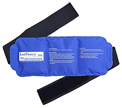 LotFancy Reusable Hot Cold Pack - Gel Therapy Wrap with Adjustable Strap for Knee Back Shoulder Head Elbow Ankle Wrist Waist Sports Muscle Pain Relief (14.9 x 5.9 Inch)