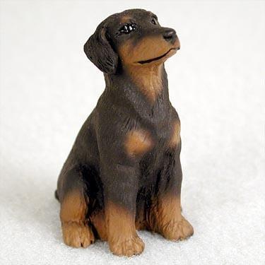 - Doberman Pinscher Miniature Dog Figurine - Uncropped Ears - Red