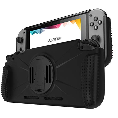 AZGEEK Premium Protective Case Compatible for Nintendo Switch Case, Carrying Portable Cover with Grip Shock Absorbing and Scratch Resistant Design (Black)