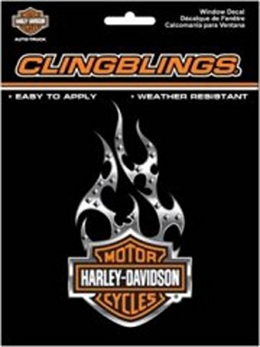 Harley-Davidson® Flame Cling Bling Static Window Decal ()