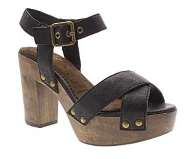 e7229c112 Shellys Womens Black Wooden Block Heel Sandals Size 8: Amazon.co.uk ...