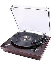 D&L Stile a Giradischi a 3 Velocità con Coperchio Antipolvere Trasparente Registrazione PC Vinile a MP3, Uscita RCA su Lettore Audio, Ingresso Aux