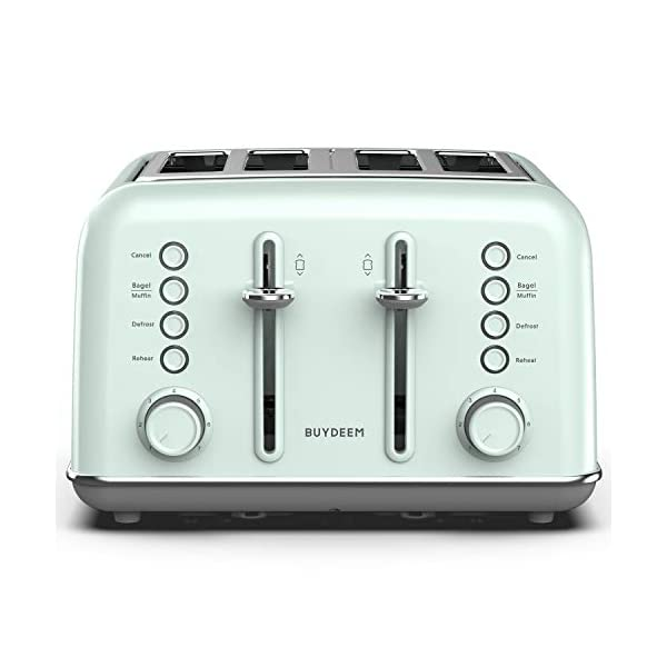 BUYDEEM DT-6B83 4-Slice Toaster, Extra Wide Slots, Retro Stainless Steel with High Lift Lever, Bagel and Muffin Function… 1