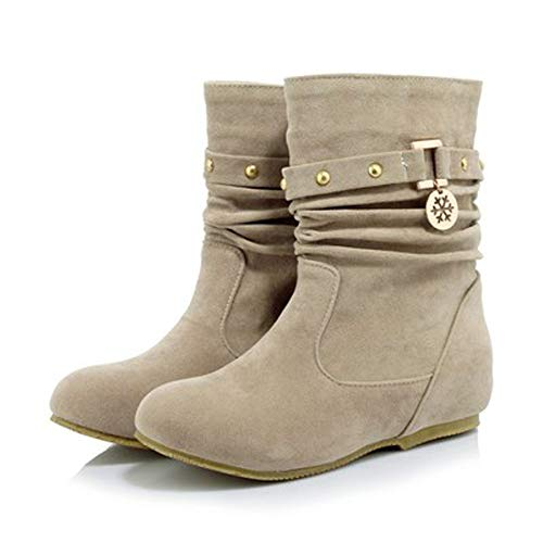 Flat Warm Rivets Shoes Keep Beige Boots Womens Flock 2018 Holywin Wedges Winter Matte wFq8aSa