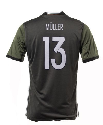 #13 Thomas Müller Germany National Soccer Team Euro 2016 Cup Jersey (Grey, Medium)