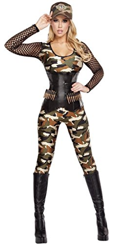 Sexy Lady Rambo Queen of the Jungle Halloween Costume - Camouflage/Black - Small