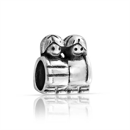 Bling Jewelry Brother Sister Mother Son Family Pair Charm Bead .925 Sterling Silver