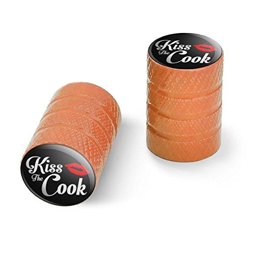 オートバイ自転車バイクタイヤリムホイールアルミバルブステムキャップ - オレンジコックにキス