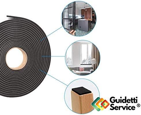 Guidetti Service - Junta adhesiva negra de 10 mm, rollo de 10 ...