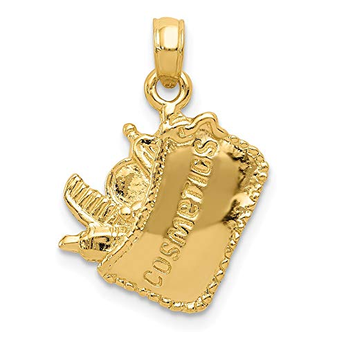 (14K Yellow Gold Jewelry Pendants & Charms Solid 15 mm 15 mm Satin 3-Dimensional Cosmetic Pouch Pendant)