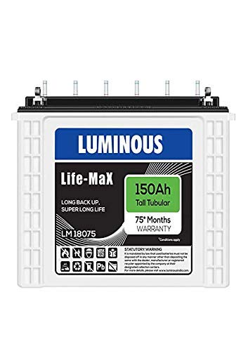 Luminous 150ah LM18075 Tall Tubular Battery for Home 2021 June Luminous Inverlast Battery - Inverlast LM18075 Inverter Next generation tall tubular battery with better charge acceptance and long Back up Tubular 150ah Battery - Battery - LM18075 150 Ah capacity, 12V. Next generation tall tubular battery with better charge acceptance and long Back up Luminous LM18075 Inverter - Luminous LM18075 Tall Ups Tubular plate Technology. These UPS batteries recharge very fast and are suitable for areas that suffer from frequent and long power cuts