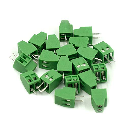 Hxchen 2-Pin 2.54mm Pitch 150V 6A PCB Mount Screw Terminal Block Connector - (20 Pcs)