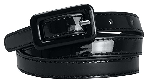 Womens Covered Buckle Patent Leatherette Skinny Belt (S(26.5