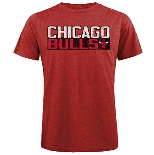 Majestic Athletic NBA Chicago Bulls Men's Premium Tri Blended Crew Tee, Red, Large