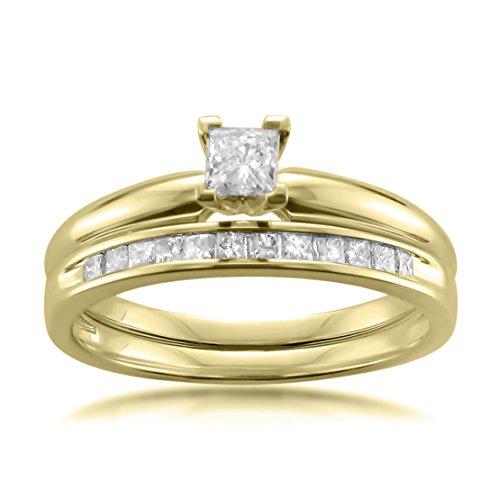 La4ve Diamonds 14k Yellow Gold Princess-Cut Diamond Solitaire Engagement Bridal Set Wedding Ring (1/2 cttw, I-J, I2-I3), Size 6.5 (Princess Cut Diamond Bridal Set 14k White Gold)