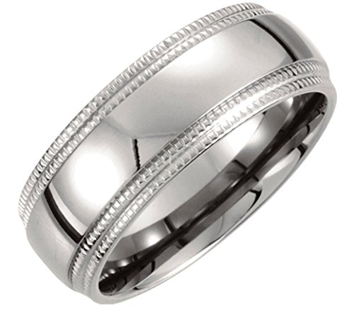 Titanium 8mm Double Milgrain Comfort Fit Ring, Size 7.5 by The Men's Jewelry Store (for HER)