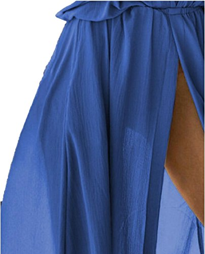 Womens Dress Party Long Maxi Sexy Slit Cocktail Front Neck Blue V Light Deep Jaycargogo PdgwFqP