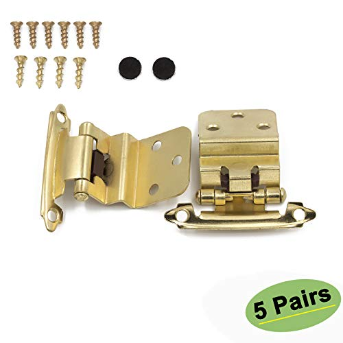 Gold Cabinet Hinges 5 Pairs(10 Pack) - Homdiy SCH38BB 3/8inch Brushed Brass Hinges for Cabinets Self-Closing Face Mount 3/8 Inset Hinges Cabinet Harware