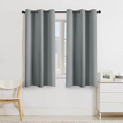 (Turquoize Dove Grey Thermal Insulated Grommet Blackout Curtains for Bedroom/Living Room (2 Panels, W42 x L63 -Inch, Dove Grey))