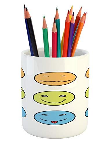 Lunarable Mood Pencil Pen Holder, Doodle Emotion Expressions Emoji Faces Happy Sad, Printed Ceramic Pencil Pen Holder for Desk Office Accessory, Pale Orange Pale Avocado Green Sky Blue White